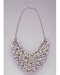 Bebe - Metallic Crystal  Pearl Necklace - Lyst