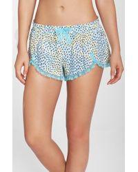 Betsey Johnson - Blue Lace Hem Woven Shorts - Lyst