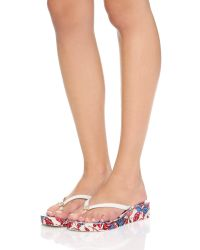 Tory Burch - White Thandie Wedge Flip Flops - Lyst