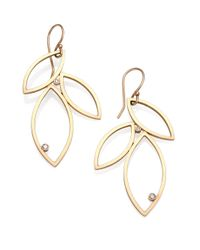 Zoe Chicco | Metallic Diamond & 14k Gold Petal Drop Earrings | Lyst
