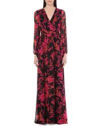 Diane von Furstenberg | Multicolor Celia Silk-chiffon Gown | Lyst