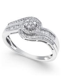 Macy's | Metallic Diamond Swirl Ring (1/4 Ct. T.w.) In 10k White Or Yellow Gold, Size 5-10 | Lyst
