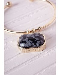 Missguided - Metallic Marble Pendant Cuff Gold - Lyst