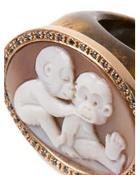 Amedeo | Brown Two Monkeys Signet Ring | Lyst