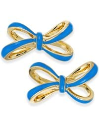 Kate Spade | Gold-tone Blue Tied Up Stud Earrings | Lyst
