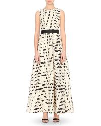 Max Mara Elegante - Black Saetta Abstract-print Silk-blend Gown - Lyst