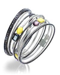 INC International Concepts - Metallic Two-tone Yellow And Hematite Crystal Bangle Bracelet Set - Lyst