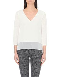 Sandro - Gray Trilce Layered Linen And Silk T-shirt - Lyst
