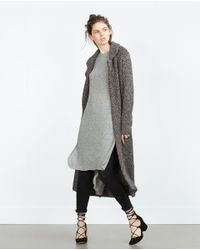 Zara | Gray Long Sweater With Side Slits | Lyst