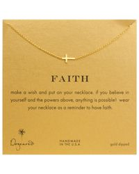 Dogeared | Metallic Gold Plated Faith Sideways Cross Necklace | Lyst
