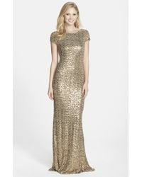 Badgley Mischka | Metallic Sequin Drape Back Gown | Lyst