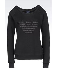 Armani Jeans - Black Cotton Sweatshirt - Lyst
