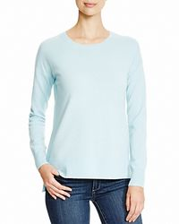 Aqua | Blue Cashmere Cashmere High Low Crewneck Sweater | Lyst