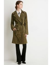 Forever 21 - Green Contemporary Genuine Suede Belted Trench Coat - Lyst