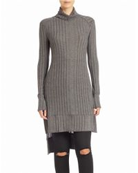 Free People | Gray Ribbed Turtleneck Tunic Sweater | Lyst