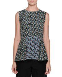 Marni - Green Floral-print Silk Crepe De Chine Peplum Top - Lyst