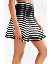 Silence + Noise - Black Ribbed Knit Skater Skirt - Lyst