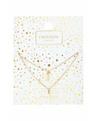 TOPSHOP - Metallic Gold Plated Rectangle Multi-row Necklace - Lyst