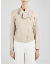 JOSEPH - Natural Soft Nappa And Suede New Alpha Jacket - Lyst