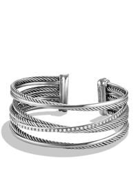 David Yurman - Metallic Crossover Four-row Cuff With Diamonds - Lyst