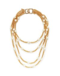 Kenneth Jay Lane - Metallic Pearl And Chain Multi Tier Necklace - Lyst