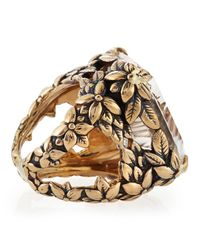 Stephen Dweck | Metallic Emeraldcut Quartz Floral Ring | Lyst