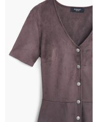 Mango - Gray Buttoned Dress - Lyst