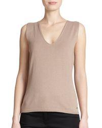 ESCADA - Natural Knit V-neck Shell - Lyst