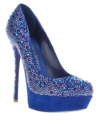 Gianmarco Lorenzi - Blue Crystal Embellished Pump - Lyst