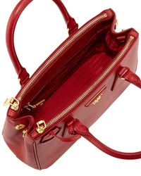 Prada - Red Saffiano Baby Executive Tote Bag With Strap - Lyst