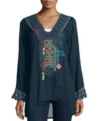 Johnny Was | Blue Lacy-trim Embroidered Blouse | Lyst