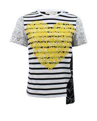 Stella McCartney - Multicolor Short Sleeve Asymmetrical Heart Tshirt - Lyst