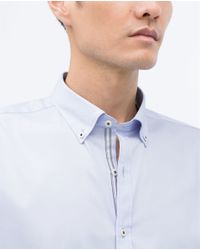 Zara | White Stretch Shirt With Decorative Stripe for Men | Lyst