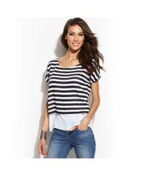 INC International Concepts - Black Petite Layeredlook Striped Top - Lyst