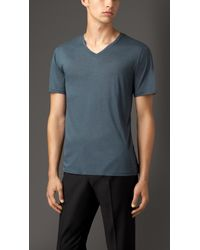 Burberry - Blue Technical Modal Blend T-shirt for Men - Lyst