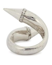 Alexander McQueen | Metallic Silver Plated Twisted Spike Ring | Lyst