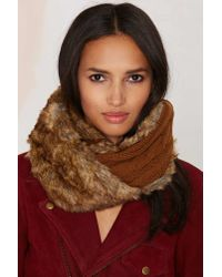 Nasty Gal | Brown Jaime Faux Fur Cable Knit Infinity Scarf | Lyst