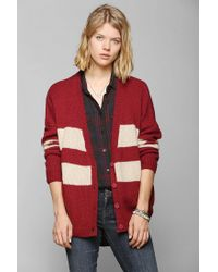 Urban Outfitters | Red Coincidence Chance Varsity Stripe Cardigan | Lyst