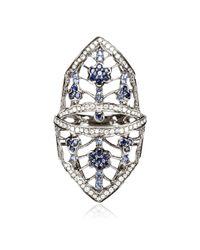 Bochic | Metallic Blue Sapphire and Diamond Flower Shield Ring | Lyst