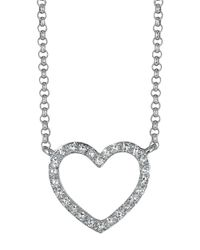 Effy | Metallic Pave Classica 14kt. White Gold And Diamond Open Heart Necklace | Lyst