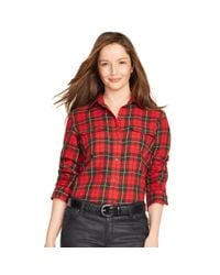 Ralph Lauren | Red Plaid Cotton Twill Workshirt | Lyst
