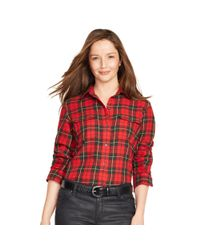 Ralph Lauren - Red Plaid Cotton Twill Workshirt - Lyst