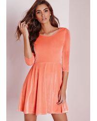 Missguided | Pink 3/4 Sleeve Velvet Skater Dress Salmon | Lyst