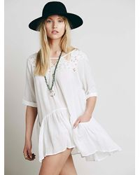 Free People - White Womens Candy Cutwork Pocket Tunic - Lyst