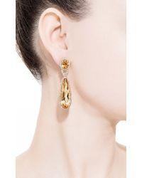 Gioia - Yellow Citrine and Diamond Drop Earrings - Lyst