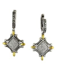 Effy | Metallic Balissima Pave Diamond, Sterling Silver And 18k Yellow Gold Drop Earrings | Lyst