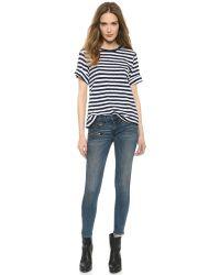 Rag & Bone - Blue Rbw 23 Crop Zipper Jeans - Oil Stain - Lyst
