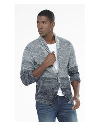 Express | Gray Ombre Shawl Collar Cardigan for Men | Lyst
