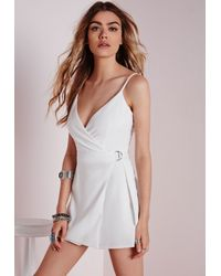 Missguided | D-ring Skort Playsuit White | Lyst