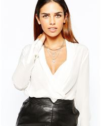 Lipsy | Metallic Multirow Tube Collar Necklace | Lyst